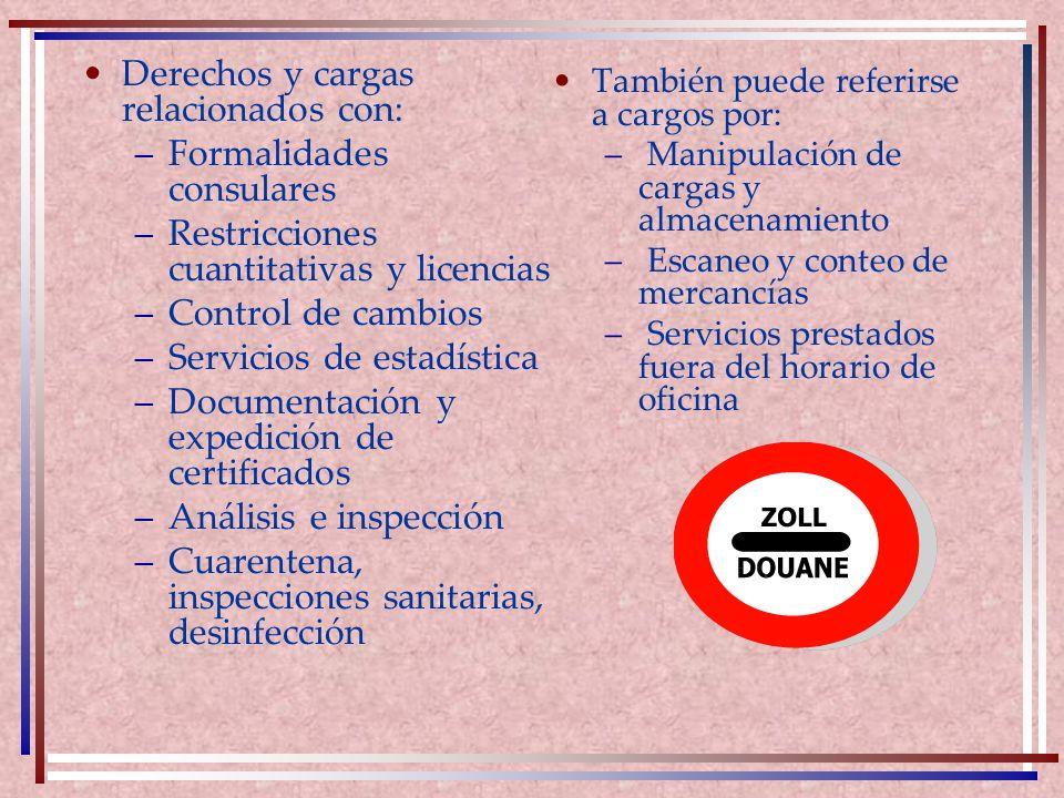 Derechos y cargas relacionados con: –Formalidades consulares –Restricciones cuantitativas y licencias –Control de cambios –Servicios de estadística –D