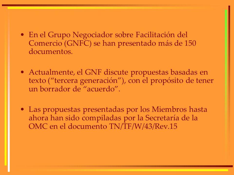 En el Grupo Negociador sobre Facilitación del Comercio (GNFC) se han presentado más de 150 documentos. Actualmente, el GNF discute propuestas basadas