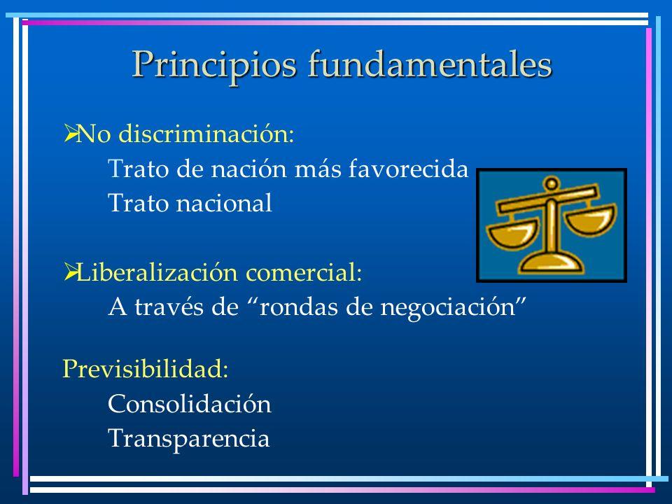 Principios fundamentales No discriminación: Trato de nación más favorecida Trato nacional Liberalización comercial: A través de rondas de negociación