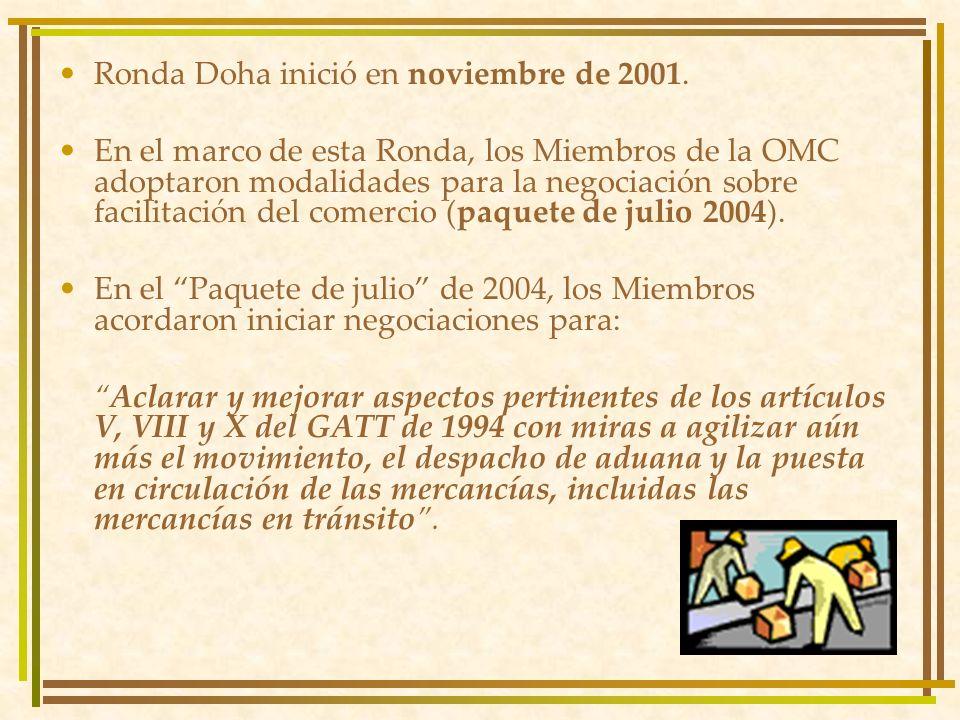 Ronda Doha inició en noviembre de 2001. En el marco de esta Ronda, los Miembros de la OMC adoptaron modalidades para la negociación sobre facilitación