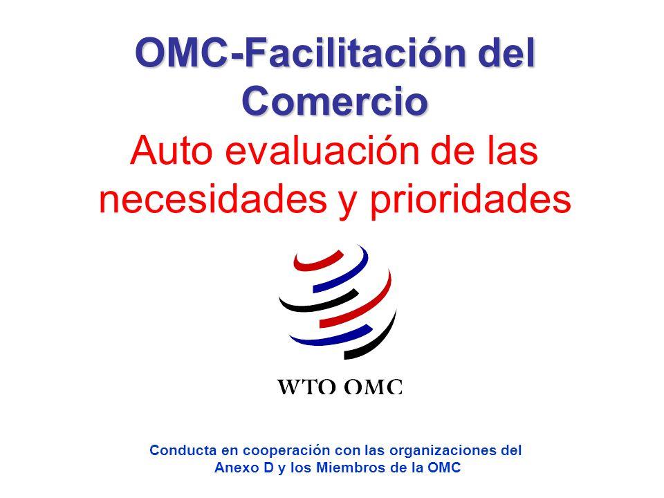 OMC-Facilitación del Comercio OMC-Facilitación del Comercio Auto evaluación de las necesidades y prioridades Conducta en cooperación con las organizac