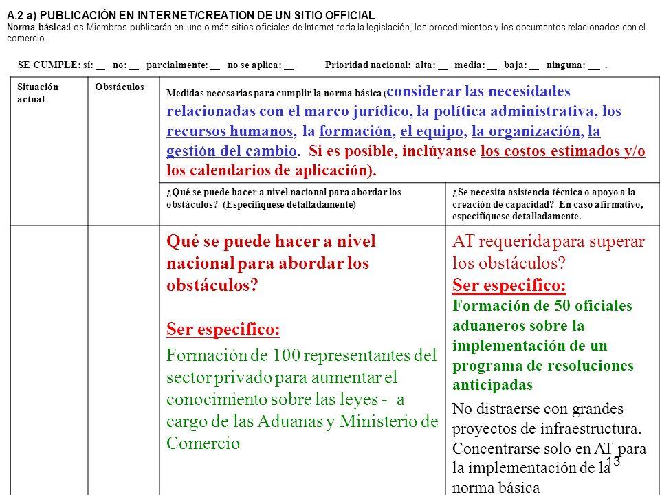 13 A.2 a) PUBLICACIÓN EN INTERNET/CREATION DE UN SITIO OFFICIAL Norma básica:Los Miembros publicarán en uno o más sitios oficiales de Internet toda la