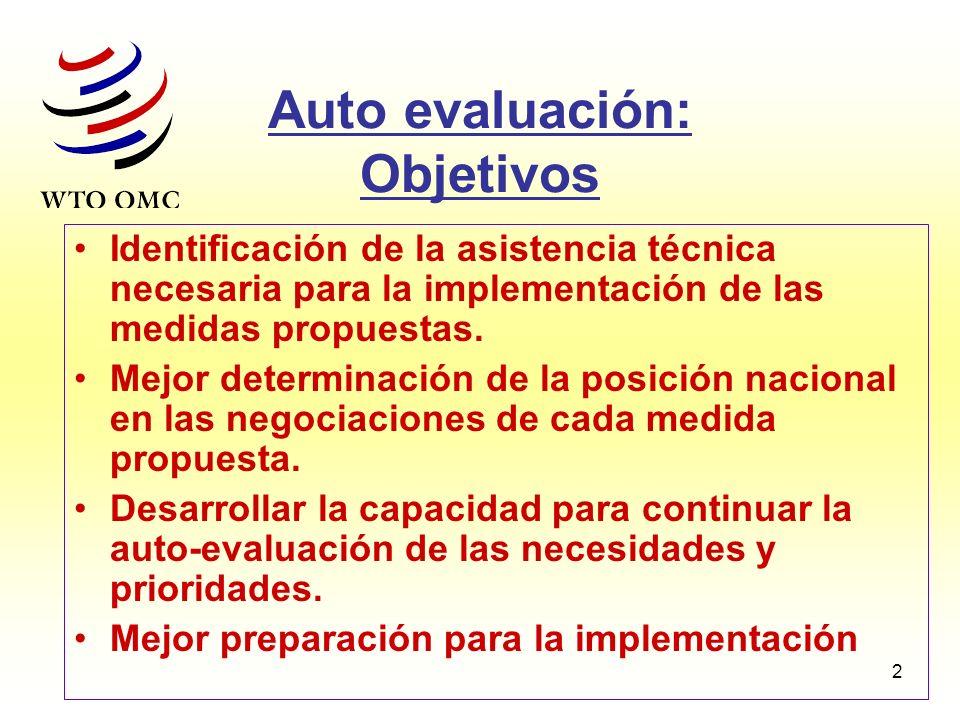 2 Auto evaluación: Objetivos Identificación de la asistencia técnica necesaria para la implementación de las medidas propuestas. Mejor determinación d