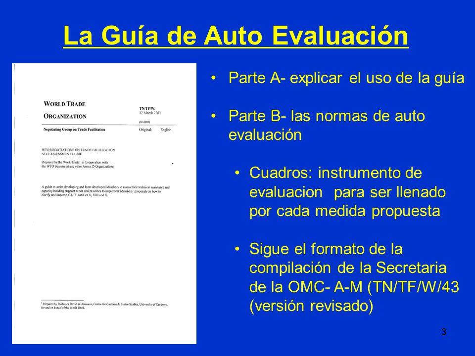 3 Parte A- explicar el uso de la guía Parte B- las normas de auto evaluación Cuadros: instrumento de evaluacion para ser llenado por cada medida propu