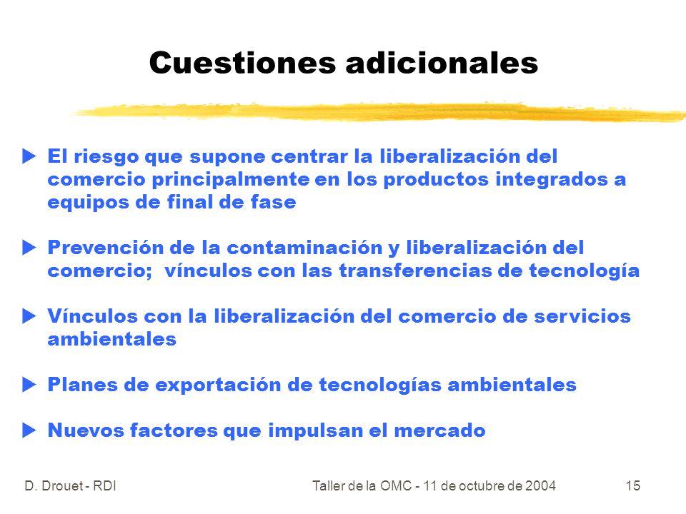 D. Drouet - RDITaller de la OMC - 11 de octubre de 200415 Cuestiones adicionales El riesgo que supone centrar la liberalización del comercio principal