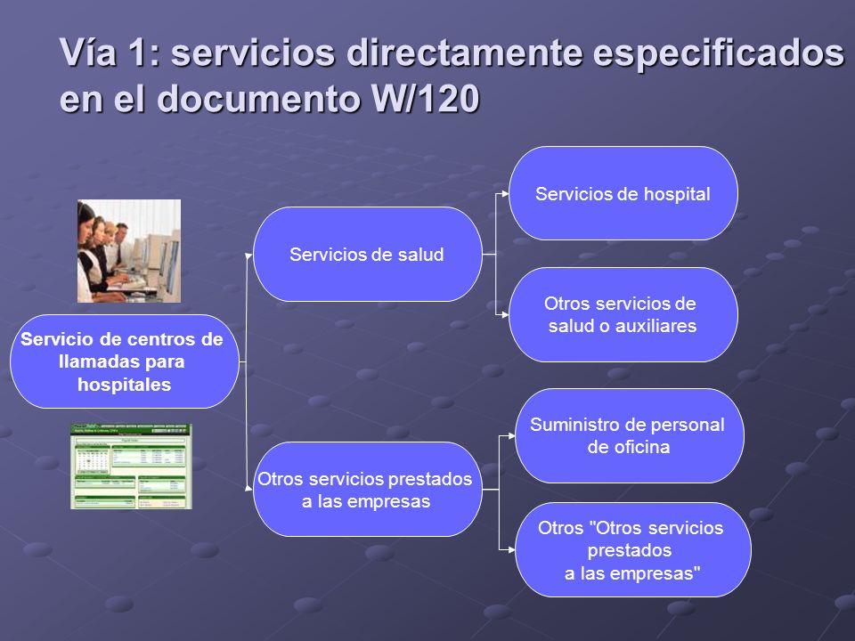 Servicio de centros de llamadas para hospitales Otros servicios prestados a las empresas Servicios de salud Otros