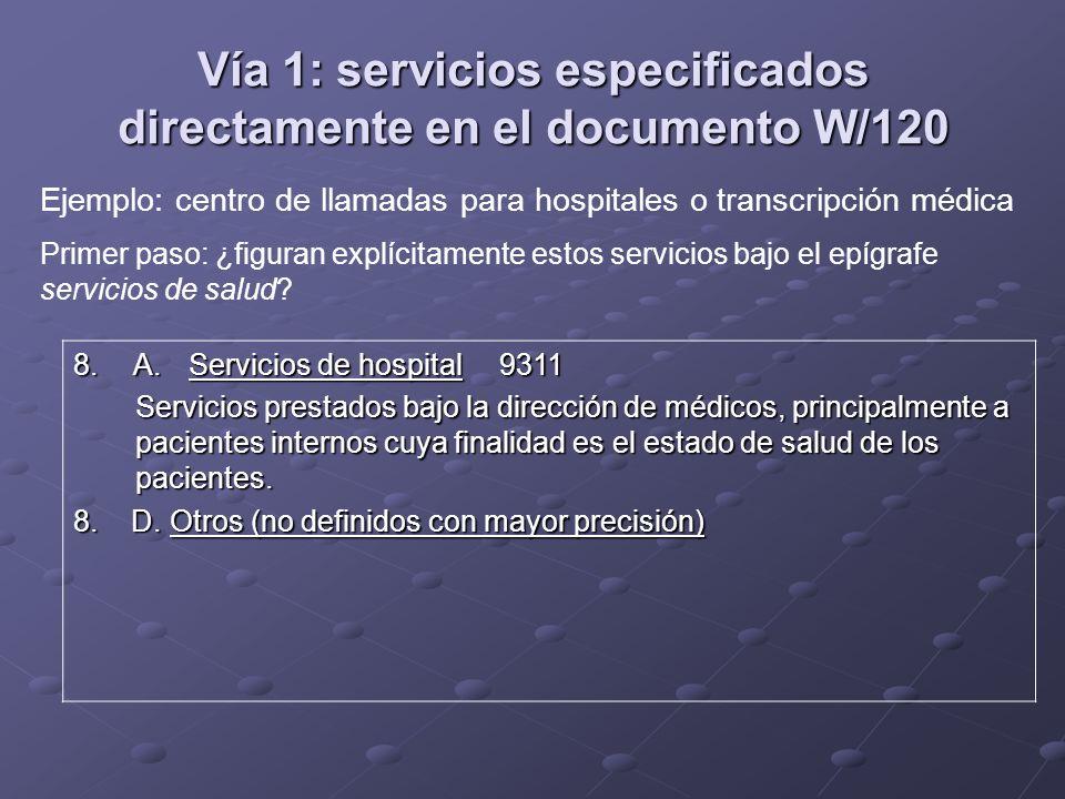 Vía 1: servicios especificados directamente en el documento W/120 8. A. Servicios de hospital9311 Servicios prestados bajo la dirección de médicos, pr