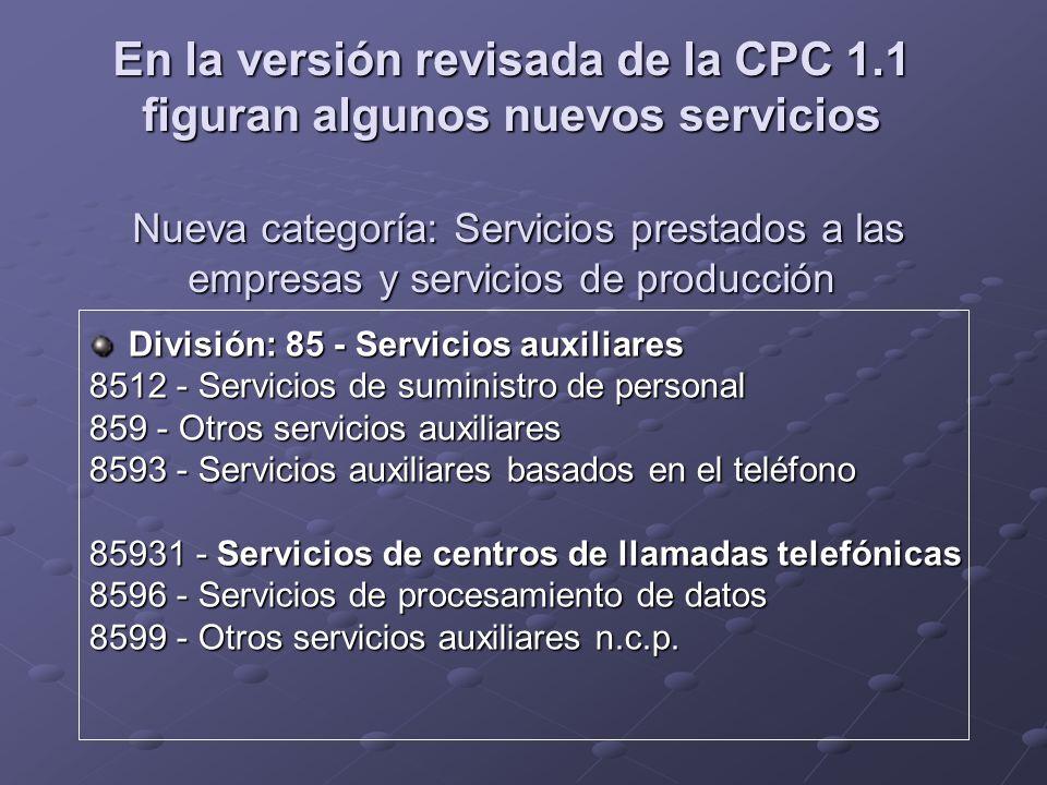 En la versión revisada de la CPC 1.1 figuran algunos nuevos servicios Nueva categoría: Servicios prestados a las empresas y servicios de producción Di