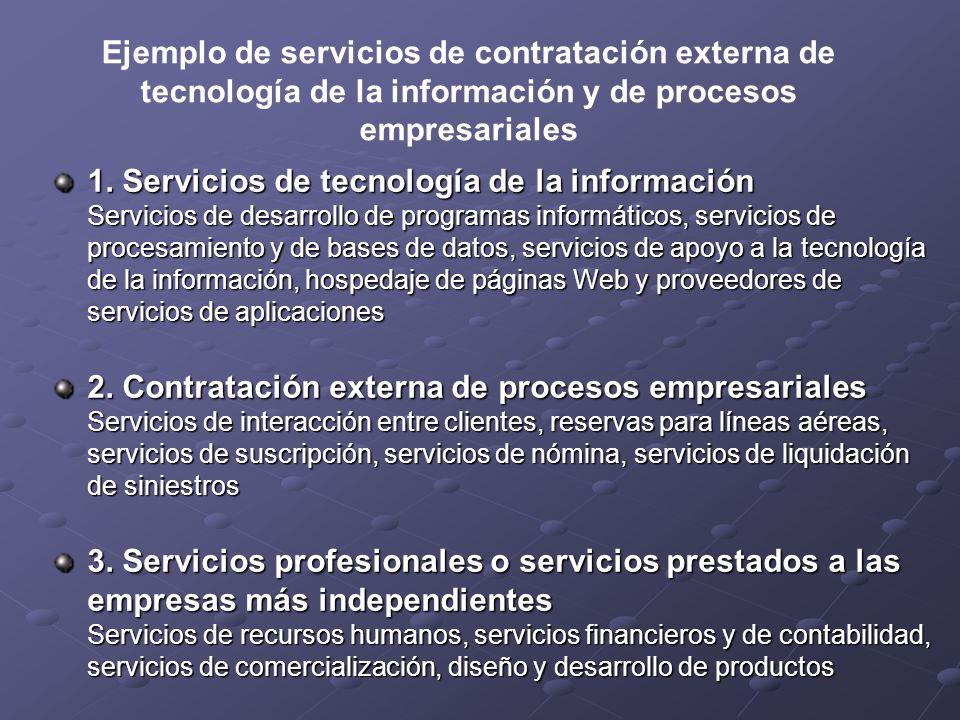 Ejemplo de servicios de contratación externa de tecnología de la información y de procesos empresariales 1. Servicios de tecnología de la información