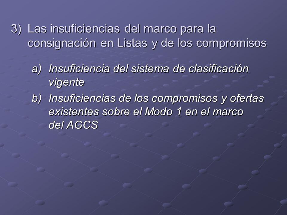 b) Insuficiencias de los compromisos y ofertas existentes sobre el Modo 1 en el marco del AGCS Los compromisos existentes en relación con el Modo 1 del AGCS son limitados y varían ampliamente según los sectores de servicios.