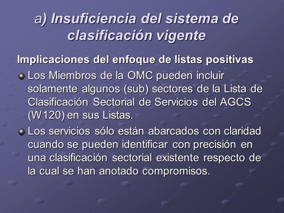 a) Insuficiencia del sistema de clasificación vigente Implicaciones del enfoque de listas positivas Los Miembros de la OMC pueden incluir solamente al