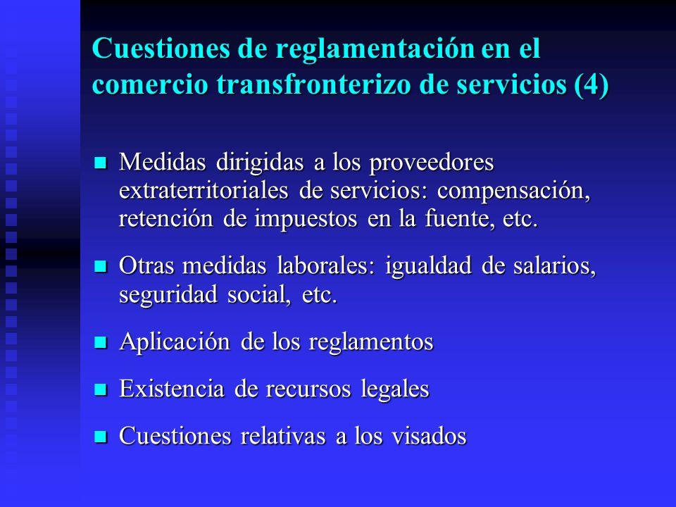El párrafo 4 del artículo VI y el comercio transfronterizo de servicios (1) La reglamentación debe ser transparente para los proveedores de servicios, en los órganos gubernamentales y no gubernamentales de todos los niveles que intervienen como organismos de reglamentación, y aplicables a los requisitos y procedimientos en materia de visados o permisos de trabajo La reglamentación debe ser transparente para los proveedores de servicios, en los órganos gubernamentales y no gubernamentales de todos los niveles que intervienen como organismos de reglamentación, y aplicables a los requisitos y procedimientos en materia de visados o permisos de trabajo La aplicación de la reglamentación debe ser objetiva e imparcial (párrafo 1 del artículo VI) La aplicación de la reglamentación debe ser objetiva e imparcial (párrafo 1 del artículo VI) Las prescripciones y procedimientos en materia de reglamentación no deben ser más restrictivos del comercio o gravosos de lo necesario para conseguir los objetivos de reglamentación Las prescripciones y procedimientos en materia de reglamentación no deben ser más restrictivos del comercio o gravosos de lo necesario para conseguir los objetivos de reglamentación