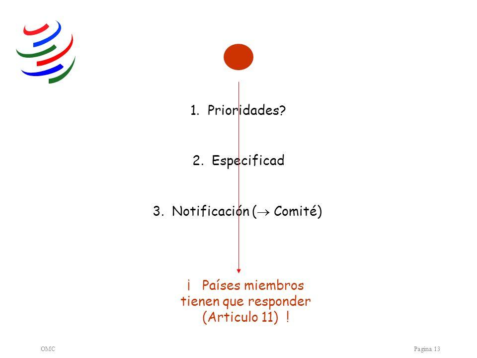 OMCPagina 13 3. Notificación ( Comité) 1. Prioridades.