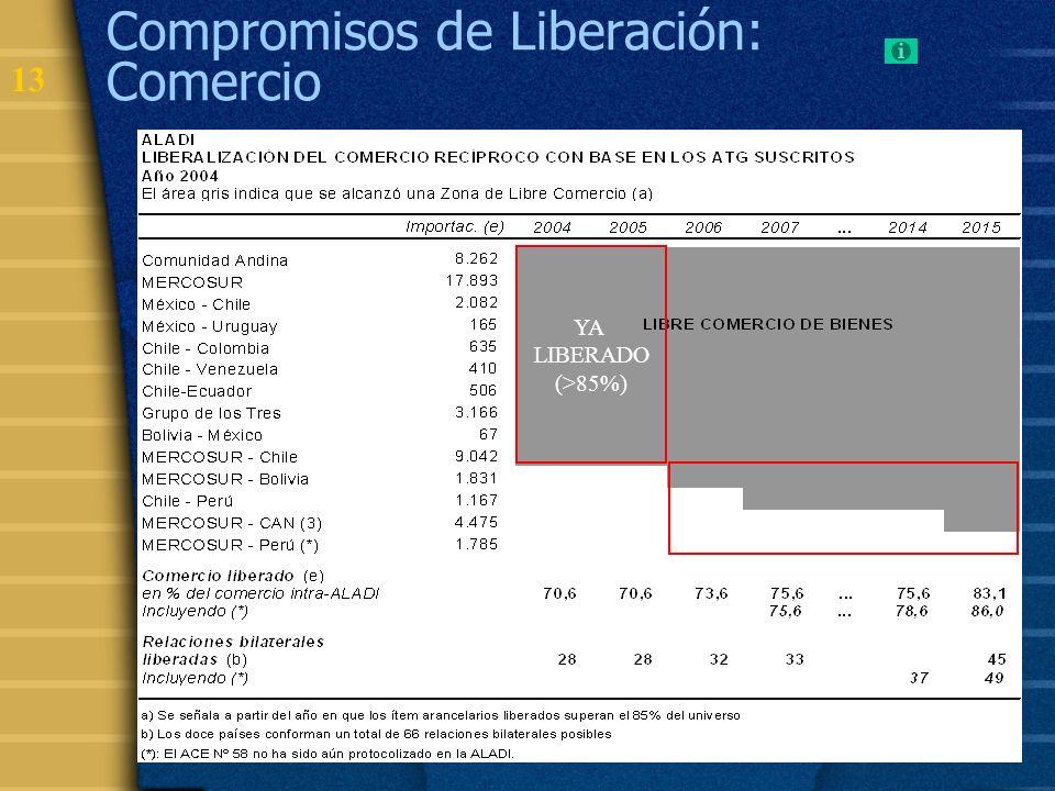 14 Compromisos de Liberación: porcentaje de ítems (enero 2006) EN LA MAYORÍA DE LOS ALC, UNA PROPORCIÓN SIGNIFICATIVA DE ÍTEM ESTÁN LIBERADOS LOS PRODUCTOS MÁS SENSIBLES HAN SIDO INCORPORADOS EN CRONOGRAMAS DE MÁS LARGO PLAZO O EXCEPTUADOS