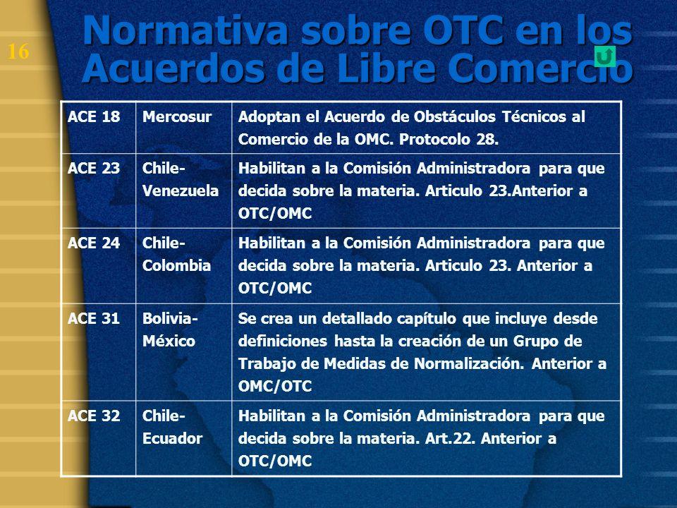 17 Normativa sobre OTC en los Acuerdos de Libre Comercio ACE 33 Colombia- México- Venezuela Se crea un detallado capítulo que incluye desde definiciones hasta la creación de un Grupo de Trabajo de Medidas de Normalización.