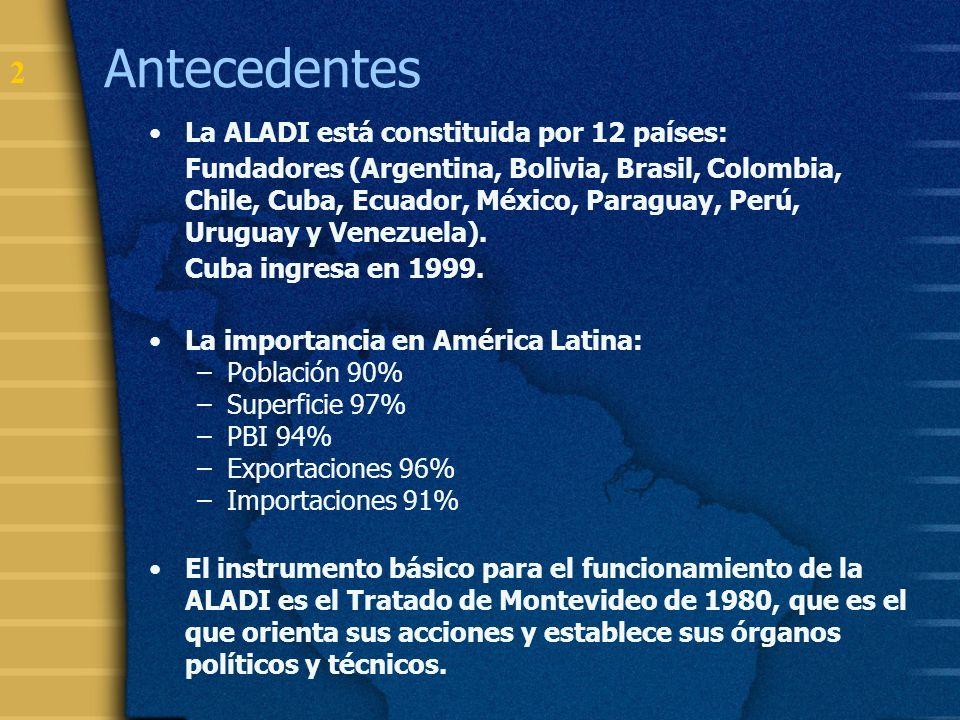 3 Objetivos y Funciones de la ALADI Objetivos: Desarrollo económico – social, armónico y equilibrado de la región.