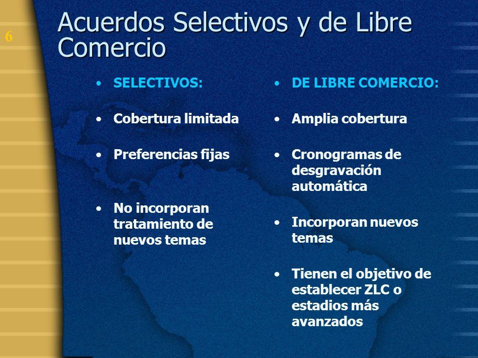 7 Acuerdos de libre comercio entre los países miembros de la ALADI CHILE MÉXICO PERÚ VENEZUELA COLOMBIA BOLIVIA ECUADOR MERCOSUR CUBA 1991 – ACE 18 1993 – ACE 23 - ACE 24 1994 – ACE 31 1994 – ACE 32 1994 – ACE 33 1996 – ACE 35 1996 – ACE 36 1998 – ACE 38 1998 – ACE 41 2004 – ACE 59 2005 - ACE 58 2003 – ACE 60 (Ur.)