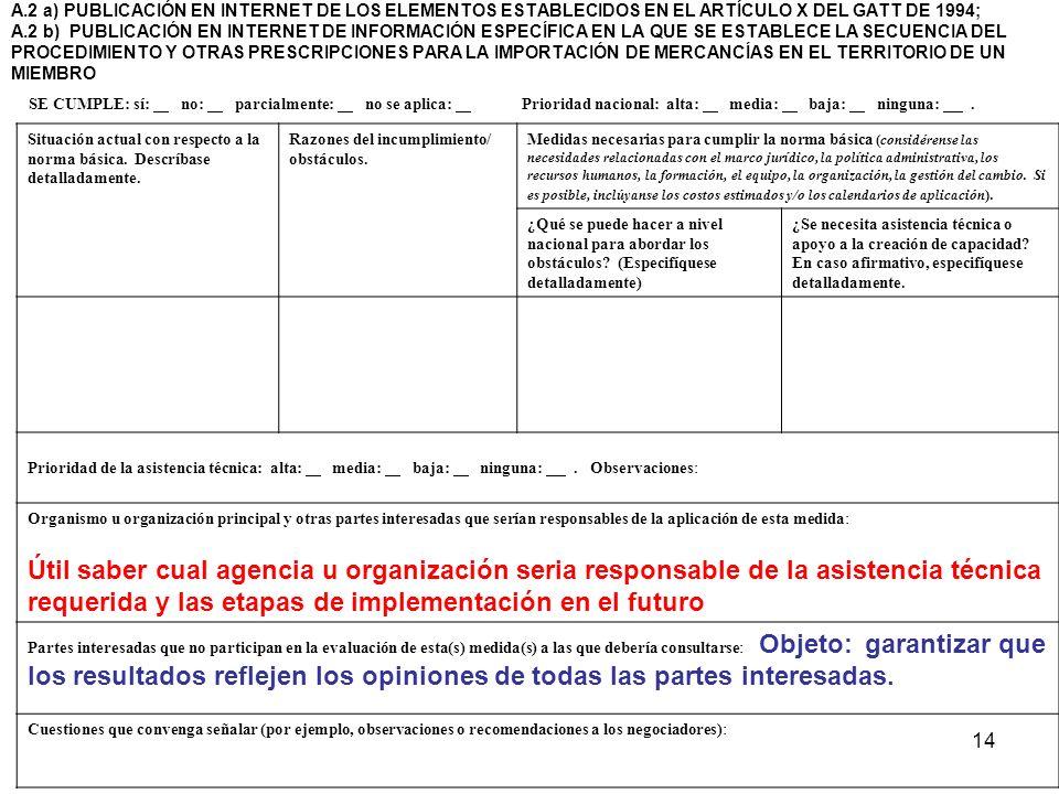 14 A.2 a) PUBLICACIÓN EN INTERNET DE LOS ELEMENTOS ESTABLECIDOS EN EL ARTÍCULO X DEL GATT DE 1994; A.2 b) PUBLICACIÓN EN INTERNET DE INFORMACIÓN ESPEC