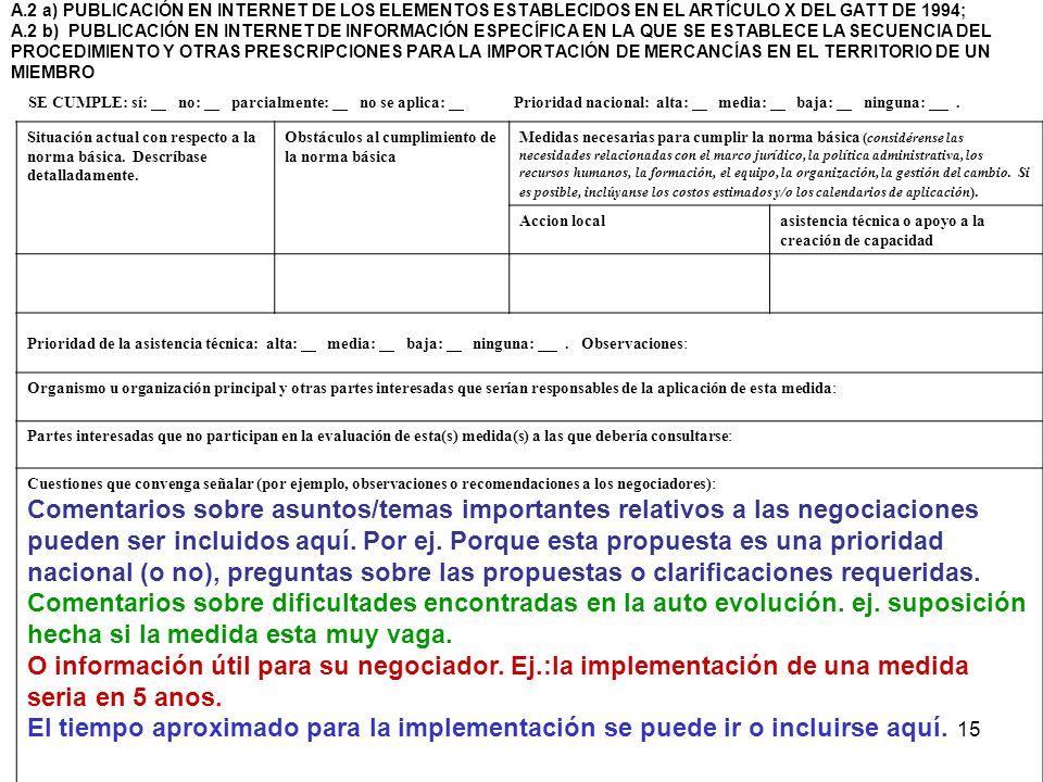 15 A.2 a) PUBLICACIÓN EN INTERNET DE LOS ELEMENTOS ESTABLECIDOS EN EL ARTÍCULO X DEL GATT DE 1994; A.2 b) PUBLICACIÓN EN INTERNET DE INFORMACIÓN ESPEC