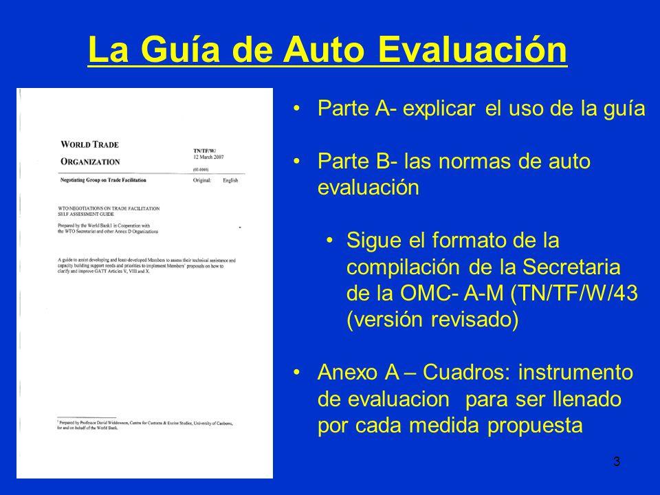 3 Parte A- explicar el uso de la guía Parte B- las normas de auto evaluación Sigue el formato de la compilación de la Secretaria de la OMC- A-M (TN/TF