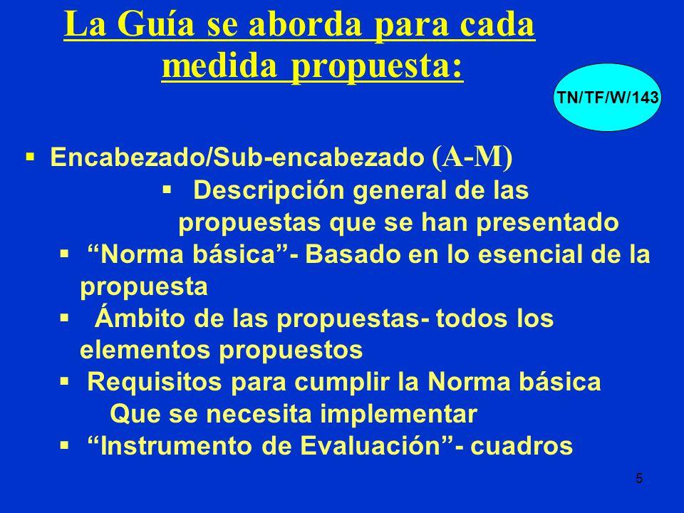 5 Encabezado/Sub-encabezado (A-M) Descripción general de las propuestas que se han presentado Norma básica- Basado en lo esencial de la propuesta Ámbi