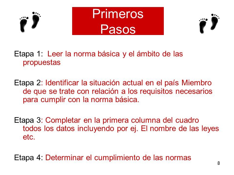 8 Primeros Pasos Etapa 1: Leer la norma básica y el ámbito de las propuestas Etapa 2: Identificar la situación actual en el país Miembro de que se tra