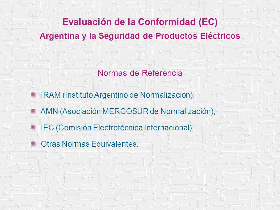 IRAM (Instituto Argentino de Normalización); AMN (Asociación MERCOSUR de Normalización); IEC (Comisión Electrotécnica Internacional); Otras Normas Equ
