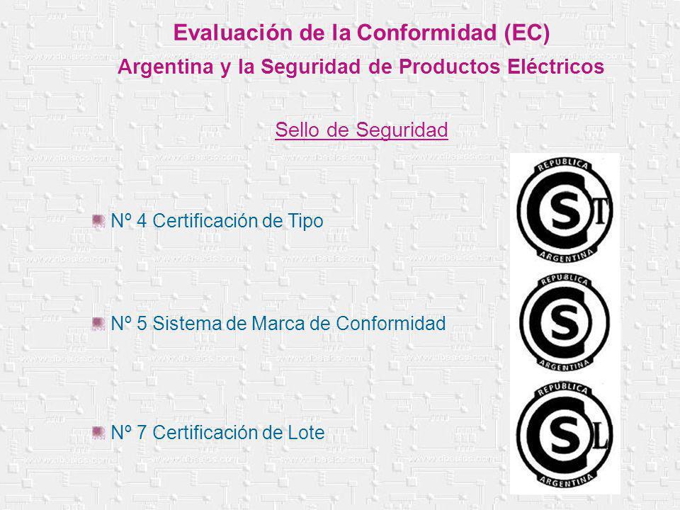 Evaluación de la Conformidad (EC) Argentina y la Seguridad de Productos Eléctricos Sello de Seguridad Nº 4 Certificación de Tipo Nº 5 Sistema de Marca