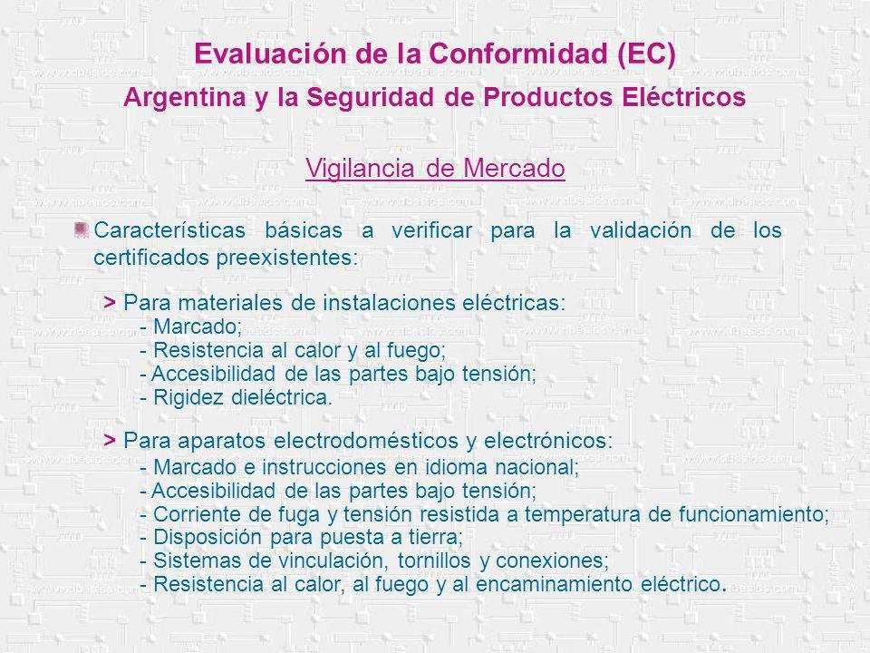 Evaluación de la Conformidad (EC) Argentina y la Seguridad de Productos Eléctricos Vigilancia de Mercado Características básicas a verificar para la v