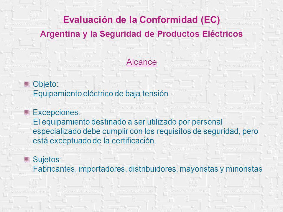 Objeto: Equipamiento eléctrico de baja tensión Excepciones: El equipamiento destinado a ser utilizado por personal especializado debe cumplir con los