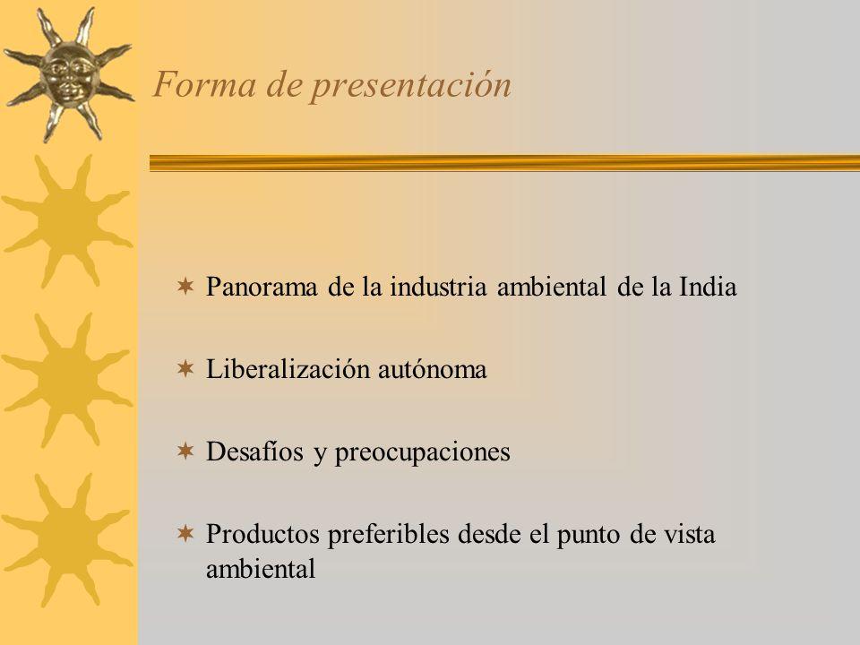 Forma de presentación Panorama de la industria ambiental de la India Liberalización autónoma Desafíos y preocupaciones Productos preferibles desde el