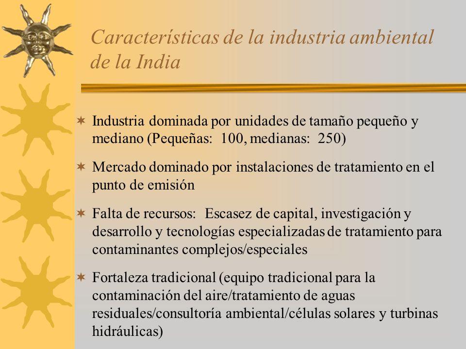 Características de la industria ambiental de la India Industria dominada por unidades de tamaño pequeño y mediano (Pequeñas: 100, medianas: 250) Merca