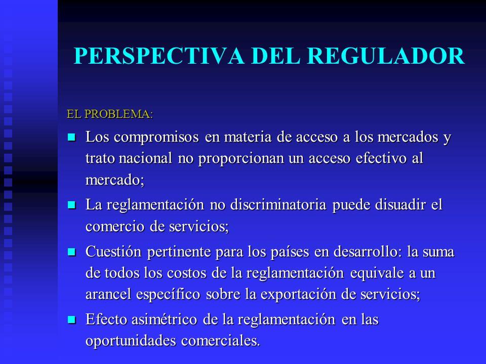 PERSPECTIVA DEL REGULADOR EL PROBLEMA: Los compromisos en materia de acceso a los mercados y trato nacional no proporcionan un acceso efectivo al mercado; Los compromisos en materia de acceso a los mercados y trato nacional no proporcionan un acceso efectivo al mercado; La reglamentación no discriminatoria puede disuadir el comercio de servicios; La reglamentación no discriminatoria puede disuadir el comercio de servicios; Cuestión pertinente para los países en desarrollo: la suma de todos los costos de la reglamentación equivale a un arancel específico sobre la exportación de servicios; Cuestión pertinente para los países en desarrollo: la suma de todos los costos de la reglamentación equivale a un arancel específico sobre la exportación de servicios; Efecto asimétrico de la reglamentación en las oportunidades comerciales.