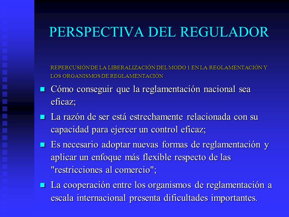 PERSPECTIVA DEL REGULADOR REPERCUSIÓN DE LA LIBERALIZACIÓN DEL MODO 1 EN LA REGLAMENTACIÓN Y LOS ORGANISMOS DE REGLAMENTACIÓN Cómo conseguir que la reglamentación nacional sea eficaz; Cómo conseguir que la reglamentación nacional sea eficaz; La razón de ser está estrechamente relacionada con su capacidad para ejercer un control eficaz; La razón de ser está estrechamente relacionada con su capacidad para ejercer un control eficaz; Es necesario adoptar nuevas formas de reglamentación y aplicar un enfoque más flexible respecto de las restricciones al comercio ; Es necesario adoptar nuevas formas de reglamentación y aplicar un enfoque más flexible respecto de las restricciones al comercio ; La cooperación entre los organismos de reglamentación a escala internacional presenta dificultades importantes.