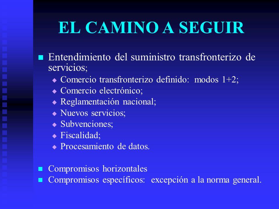 EL CAMINO A SEGUIR Entendimiento del suministro transfronterizo de servicios ; Comercio transfronterizo definido: modos 1+2; Comercio electrónico; Reglamentación nacional; Nuevos servicios; Subvenciones; Fiscalidad; Procesamiento de datos.