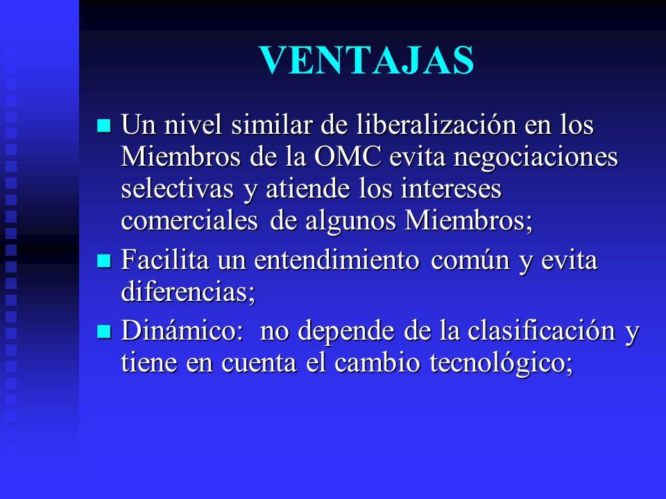 VENTAJAS Un nivel similar de liberalización en los Miembros de la OMC evita negociaciones selectivas y atiende los intereses comerciales de algunos Miembros; Un nivel similar de liberalización en los Miembros de la OMC evita negociaciones selectivas y atiende los intereses comerciales de algunos Miembros; Facilita un entendimiento común y evita diferencias; Facilita un entendimiento común y evita diferencias; Dinámico: no depende de la clasificación y tiene en cuenta el cambio tecnológico; Dinámico: no depende de la clasificación y tiene en cuenta el cambio tecnológico;