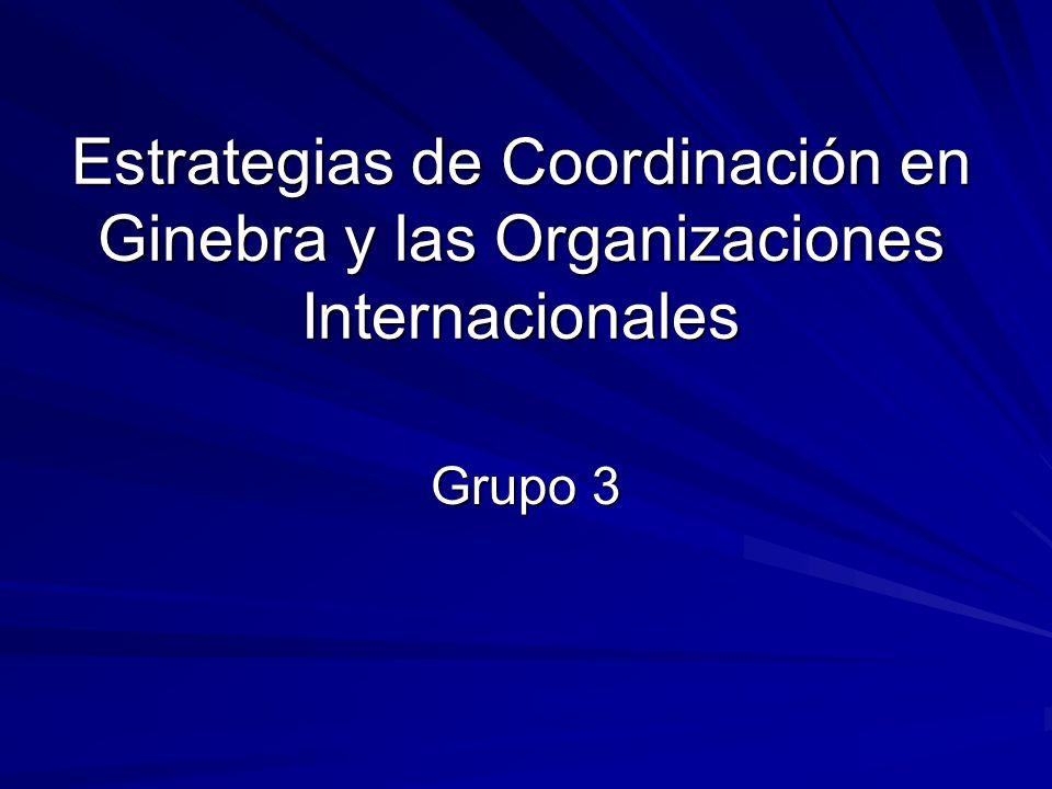 Estrategias de Coordinación en Ginebra y las Organizaciones Internacionales Grupo 3