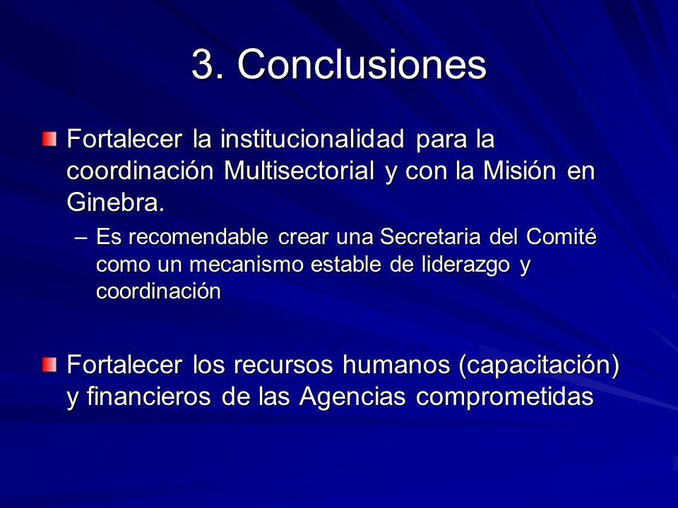 3. Conclusiones Fortalecer la institucionalidad para la coordinación Multisectorial y con la Misión en Ginebra. –Es recomendable crear una Secretaria
