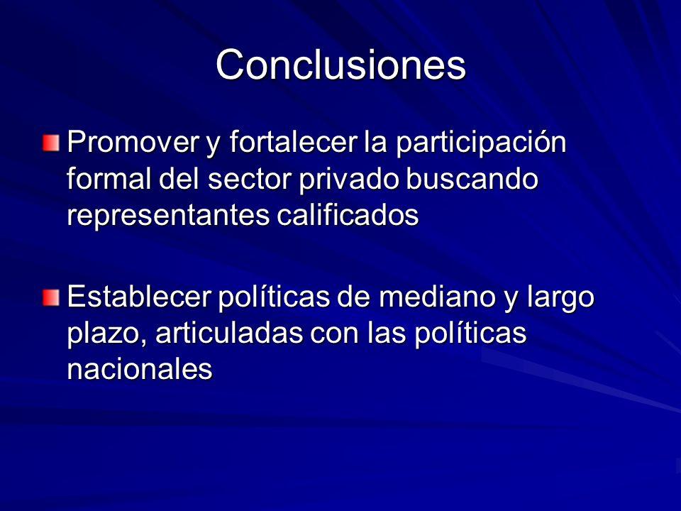 Conclusiones Promover y fortalecer la participación formal del sector privado buscando representantes calificados Establecer políticas de mediano y largo plazo, articuladas con las políticas nacionales