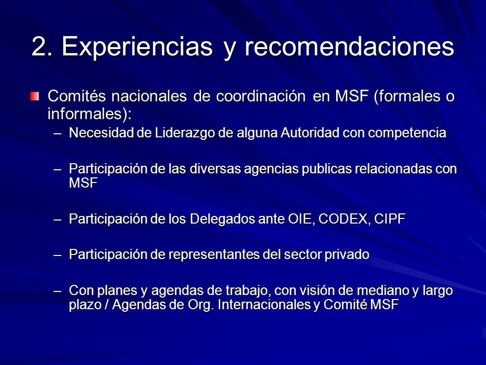 Experiencias y recomendaciones Posicionar el tema MSF en las prioridades del país –Nivel político –Nivel privado –Estudios de impactos, costo-beneficio de las MSF –Intercambio de experiencias –Etc.