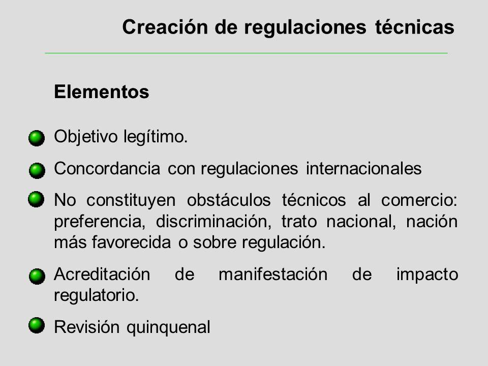 Creación de regulaciones técnicas Elementos Objetivo legítimo. Concordancia con regulaciones internacionales No constituyen obstáculos técnicos al com
