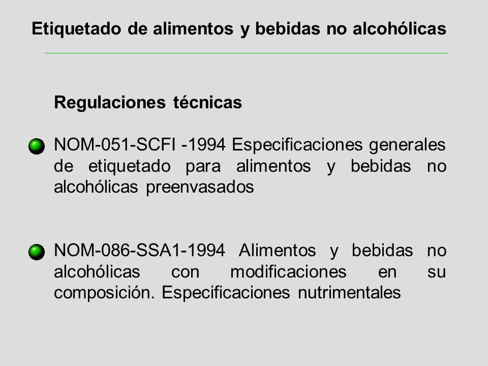 Etiquetado de alimentos y bebidas no alcohólicas Regulaciones técnicas NOM-051-SCFI -1994 Especificaciones generales de etiquetado para alimentos y be