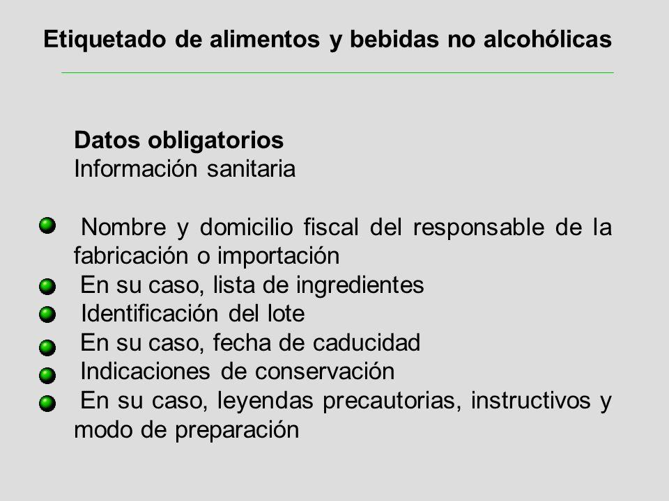 Etiquetado de alimentos y bebidas no alcohólicas Datos obligatorios Información sanitaria Nombre y domicilio fiscal del responsable de la fabricación