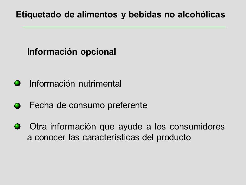 Etiquetado de alimentos y bebidas no alcohólicas Información opcional Información nutrimental Fecha de consumo preferente Otra información que ayude a