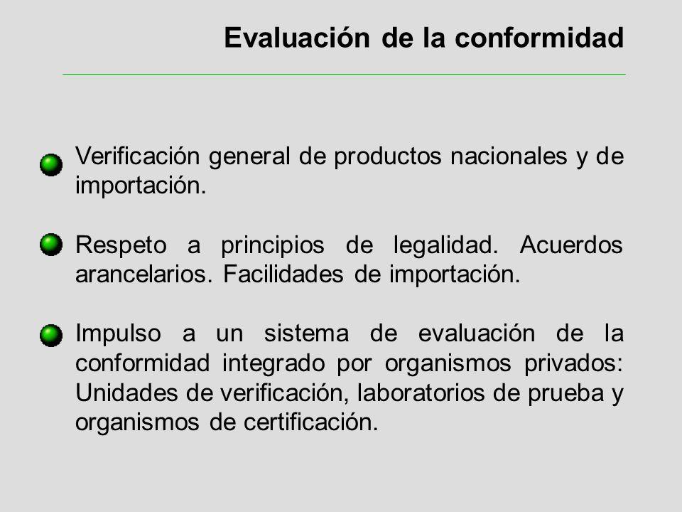Evaluación de la conformidad Verificación general de productos nacionales y de importación. Respeto a principios de legalidad. Acuerdos arancelarios.