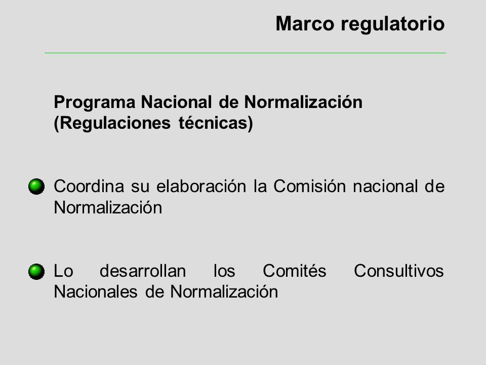 Marco regulatorio Programa Nacional de Normalización (Regulaciones técnicas) Coordina su elaboración la Comisión nacional de Normalización Lo desarrol