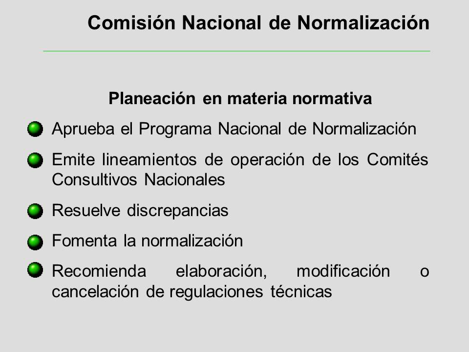 Comisión Nacional de Normalización Planeación en materia normativa Aprueba el Programa Nacional de Normalización Emite lineamientos de operación de lo