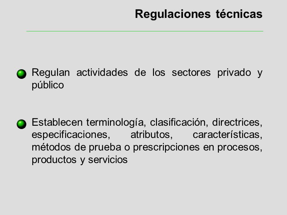 Regulaciones técnicas Regulan actividades de los sectores privado y público Establecen terminología, clasificación, directrices, especificaciones, atr