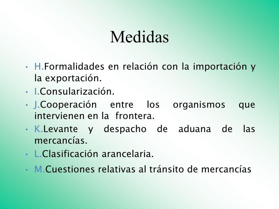 Medidas H.Formalidades en relación con la importación y la exportación. I.Consularización. J.Cooperación entre los organismos que intervienen en la fr
