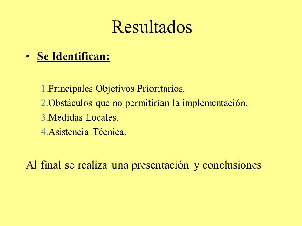 Resultados Se Identifican: 1.Principales Objetivos Prioritarios. 2.Obstáculos que no permitirían la implementación. 3.Medidas Locales. 4.Asistencia Té